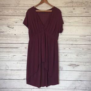 Torrid Maroon High-Low Flutter Sleeve Dress 1X